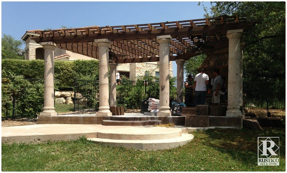 Pillar Concrete Addition : Cantera stone columns where beauty meets function