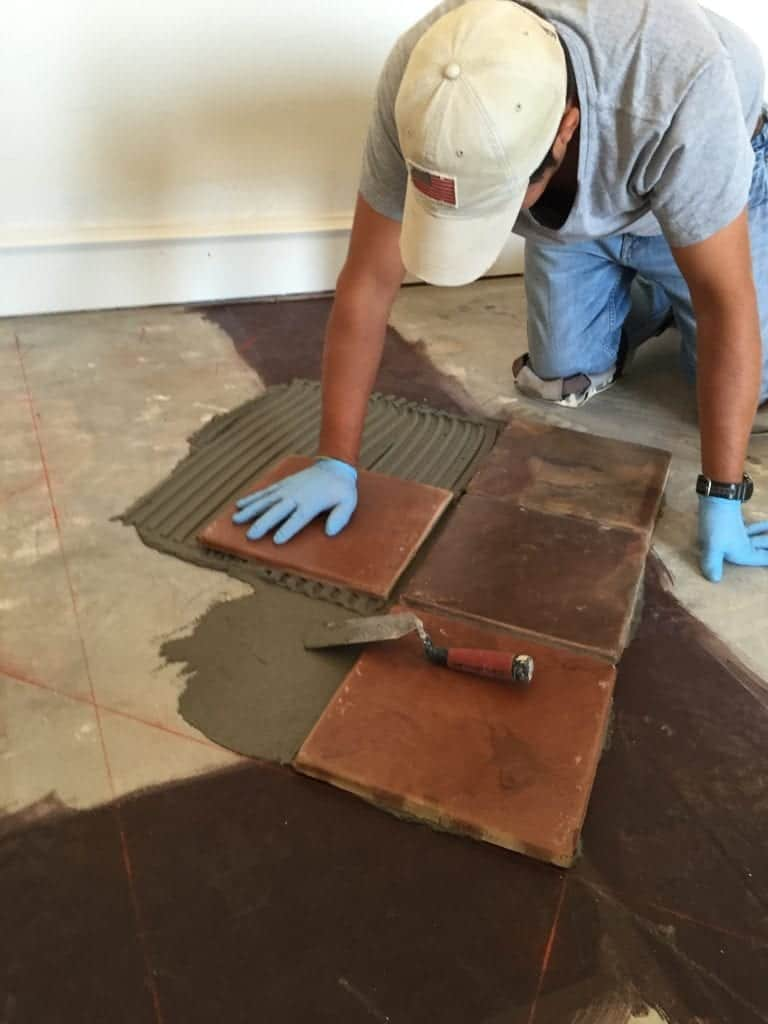 Setting Saltillo Tile without Spacers